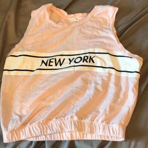 """Pink """"New York"""" crop top"""